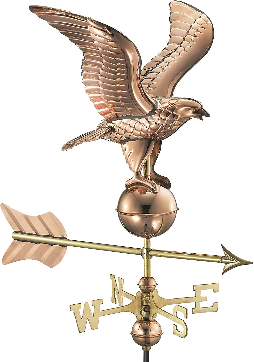 Good Directions 8815PG Eagle Garden Weathervane, Polished Copper with Garden Pole