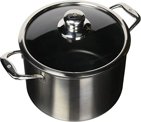 Amazon Com Swiss Diamond 7 9 Quart Stock Pot With Lid 9 5 Gray Kitchen Dining