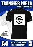 T-Shirt Folie Transferpapier für farbige und dunkele Textilien A4 8 Blatt 175g/m2 InkJet