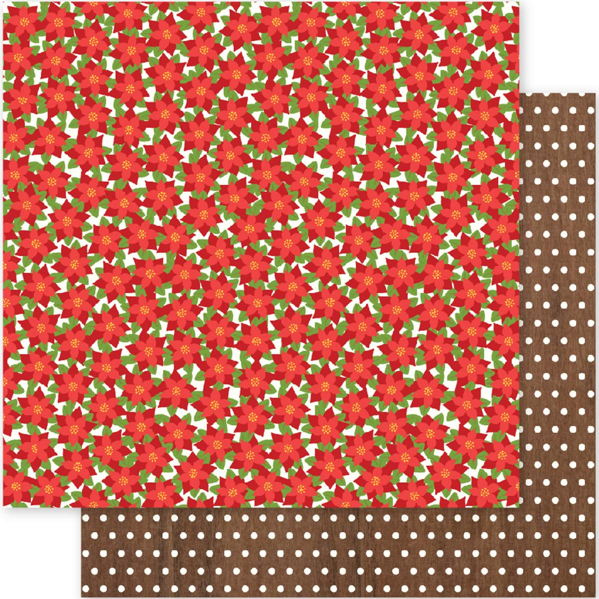 Pebbles Holly Jolly Collection Christmas 12 X 12 Double Sided Paper Posettias (6 Pack)