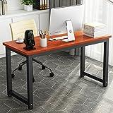 """55"""" Computer Desk , LITTLE TREE Large Office Desk Study Writing Desk / Table Workstation for Home Office, Metal Frame(Teak)"""