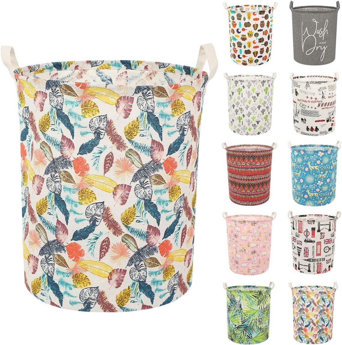 Clothes Laundry Hamper Storage Bin Large Collapsible Storage Basket Kids Canvas Laundry Basket for Home Bedroom Nursery Room (Y-Colorful Leaves, L)