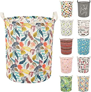 Clothes Laundry Hamper Storage Bin Large Collapsible Storage Basket Kids Canvas Laundry Basket for Home Bedroom Nursery Room (Y-Colorful Leaves, L)