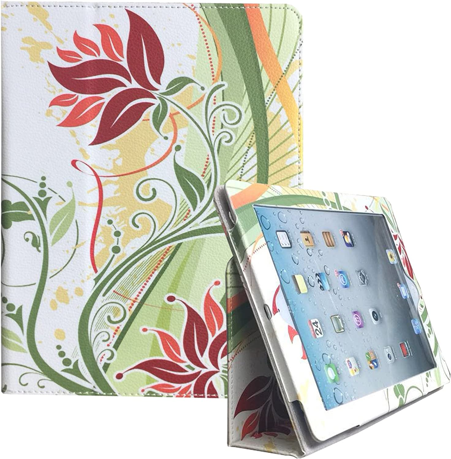 JYtrend 2018/2017 New iPad 9.7 Case (R) Folio Stand Magnetic Smart Cover for Apple iPad 5th/6th Gen A1822 A1823 A1893 A1954 with Auto Wake/Sleep (Leaf Flower)