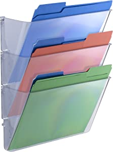 Officemate Wall Files, Letter/A4 Size, Clear, 3 Pack (21424)