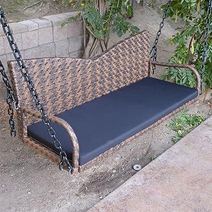 Amazoncom 52 Espresso Wicker Porch Swing Outdoor Garden - Hanging-swing-outdoor-furniture