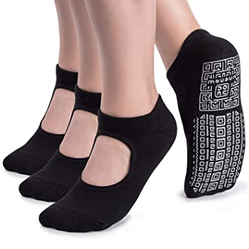 unenow Non Slip Grip Yoga Socks for Women with Cushion for Pilates, Barre, Dance