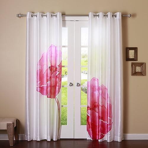 Best Home Fashion Magenta Faux Silk Flower Printed Watercolor Grommet 84 L Blackout Curtain Panel Pair 1 Pair