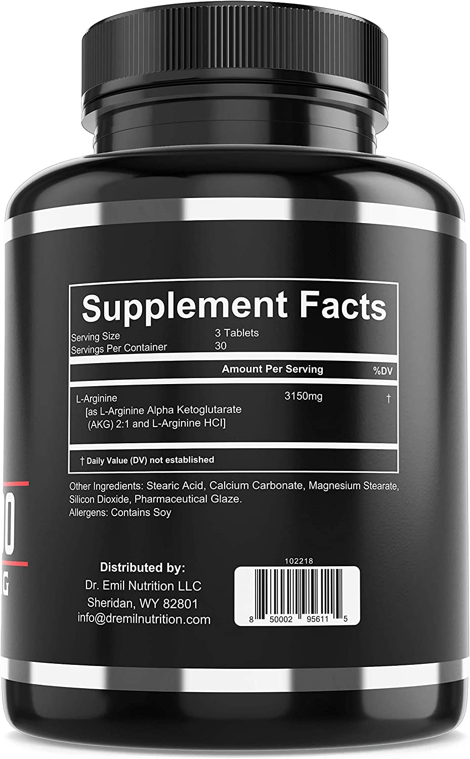 Dr. Emil – L Arginine 3150mg Highest Capsule Dose – Nitric Oxide Supplement for Muscle Growth, Vascularity, Endurance and Heart Health AAKG and HCL – 90 Tablets