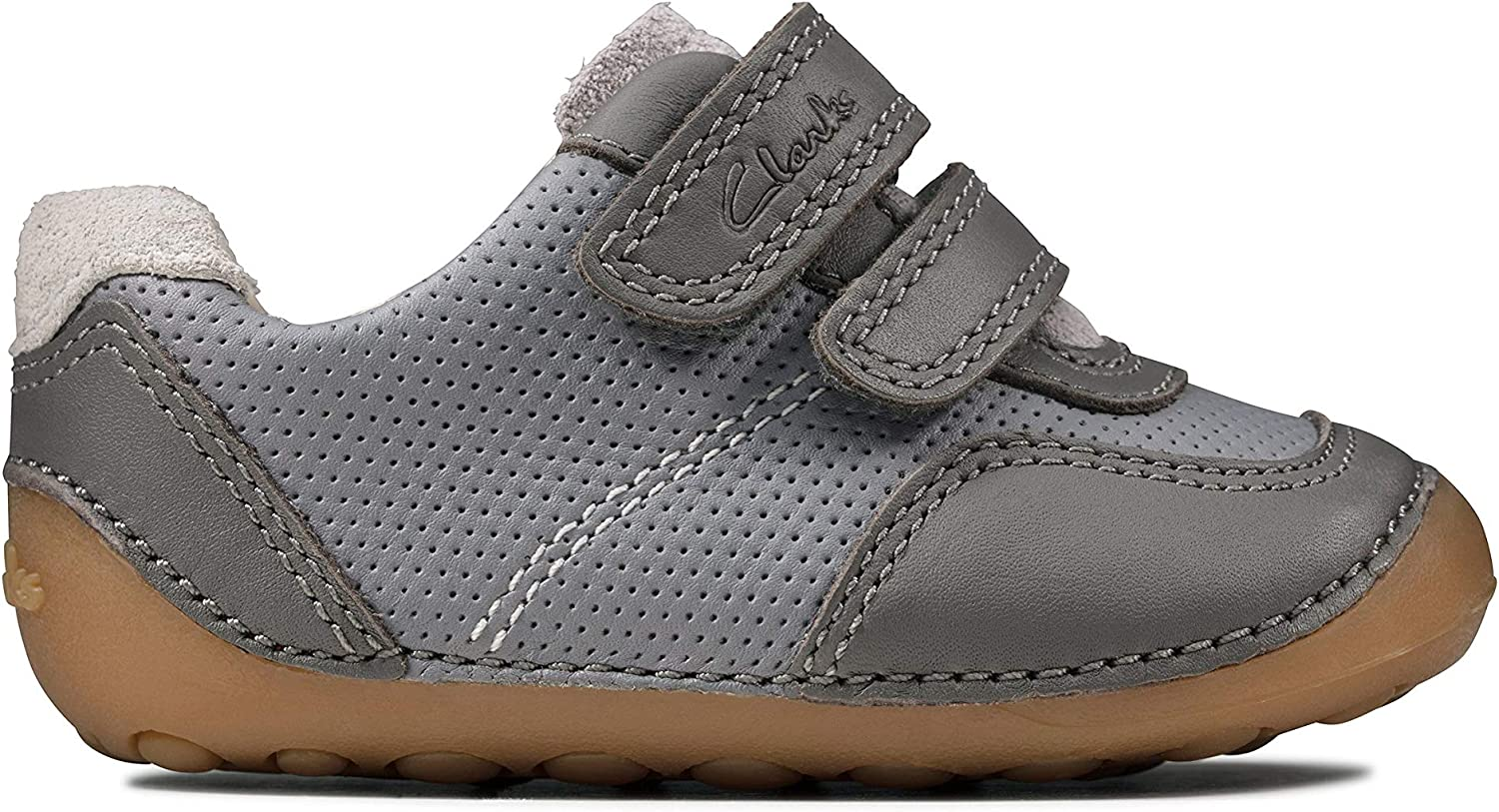 Clarks Tiny Dusk Toddler Grey Combi Leather Boys Rip Tape Pre Walker Shoes