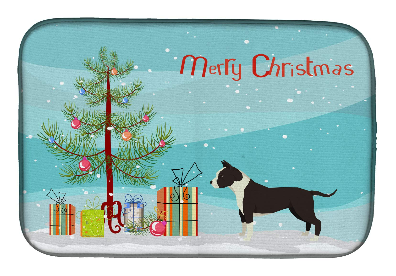 "Caroline's Treasures CK3515DDM American Staffordshire Terrier Christmas Tree Dish Drying Mat, 14 x 21"", multicolor 1"