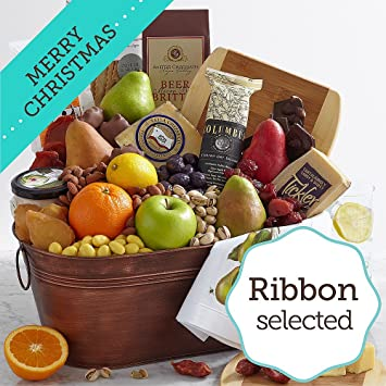 sharis berries flavors of america gift basket with merry christmas ribbon 1 count