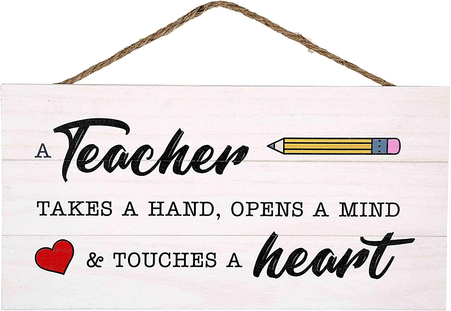 GSM Brands Teacher Takes a Hand Wood Plank Hanging Sign for School Decor (13.75 x 6.9 Inches)