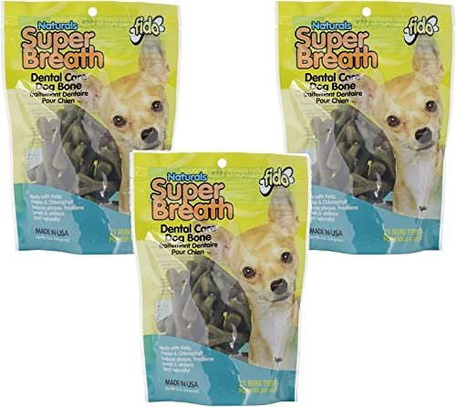 3 Pack Super Breath Dental Care Dog Bone, Mini, 21 Bones each