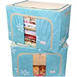 BlushBees® Living Box - Storage Boxes for Clothes, Blanket Cover Bag - 100 Litre, Pack of 2, Blue