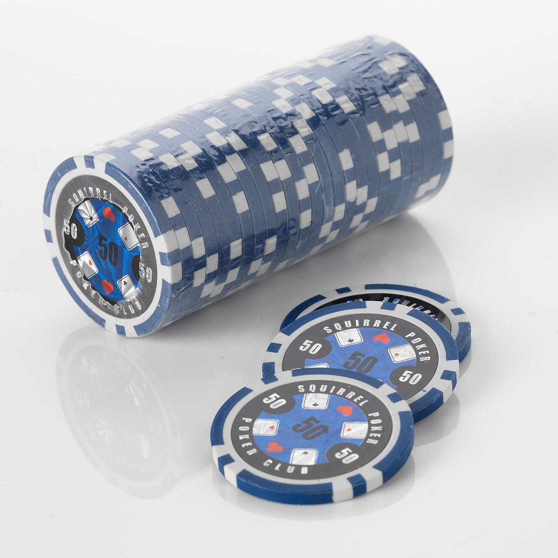15G Poker Chips - Design - Squirrel Poker Poker Club 15G Poker Chips Colour = Blue, Value = $50