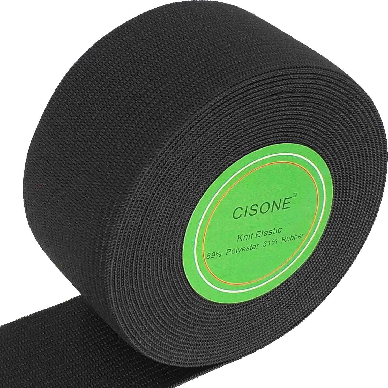 Knit Elastic 1.5 Inch Wide Black Heavy Stretch High Elasticity Knit Elastic Band 5 Yards CISONE
