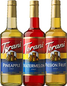 Torani Syrup Summer Fun 3 pack Assortment, Passionfruit, Pineapple and Watermelon, 25.4 Ounce Bottles Each