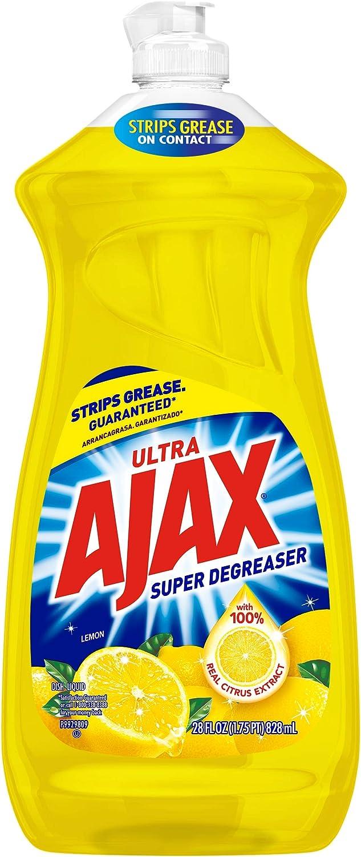 Ajax Dishwashing Liquid Dish Soap, Super Degreaser, Lemon - 28 fluid ounce, Yellow