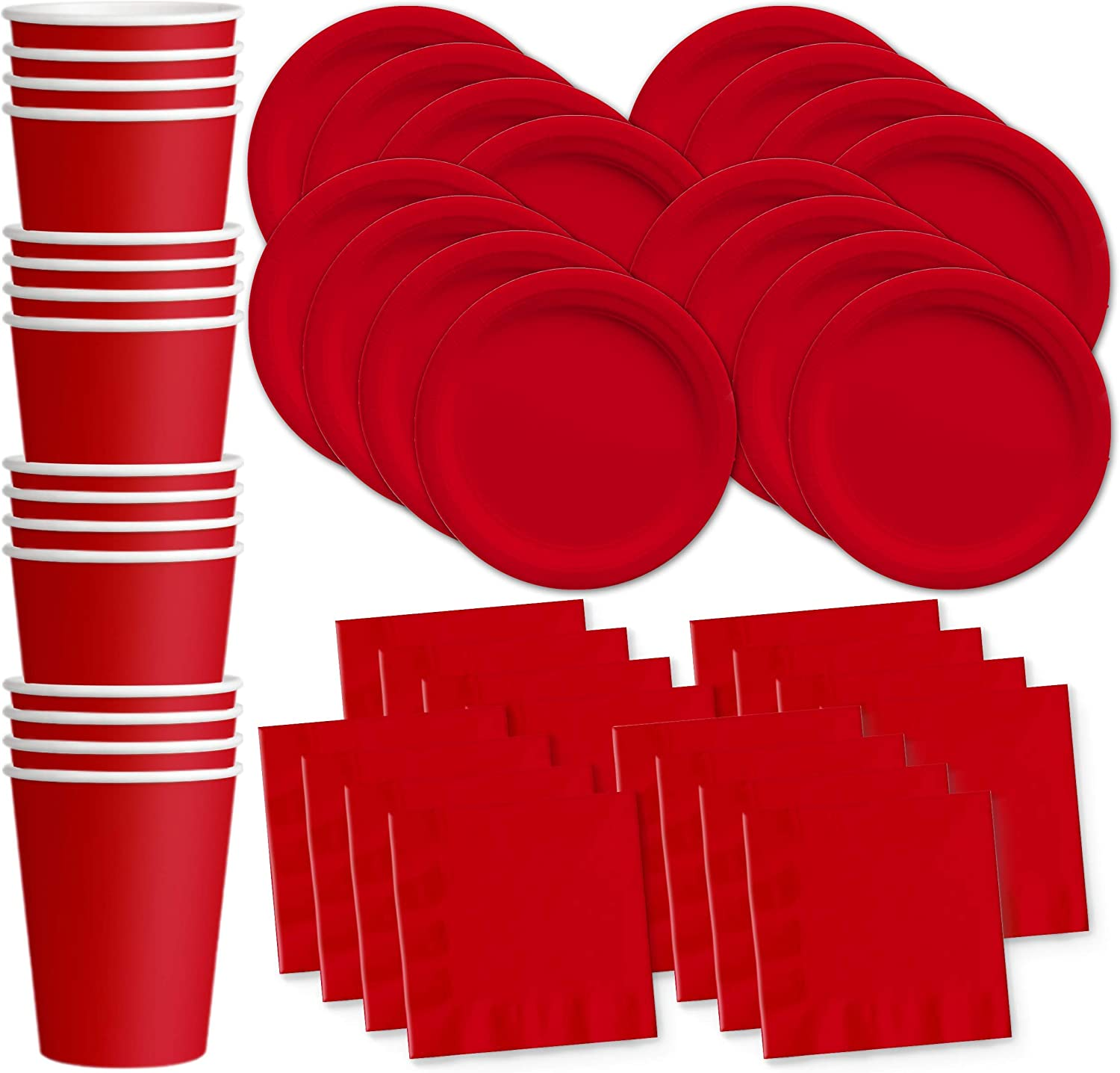 Solid Red Birthday Party Supplies Set Plates Napkins Cups Tableware Kit for 16