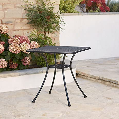 Commercial Iron 28u0026quot; Square Steel Mesh Top Outdoor Bistro Cafe Patio  Table