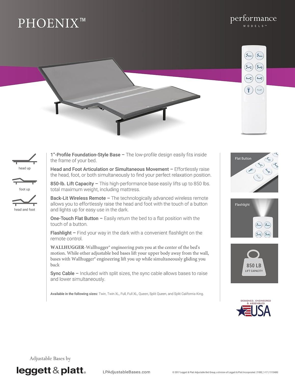 Amazon.com: NEW LEGGETT & PLATT PHOENIX ADJUSTABLE BED WITH WIRELESS ...