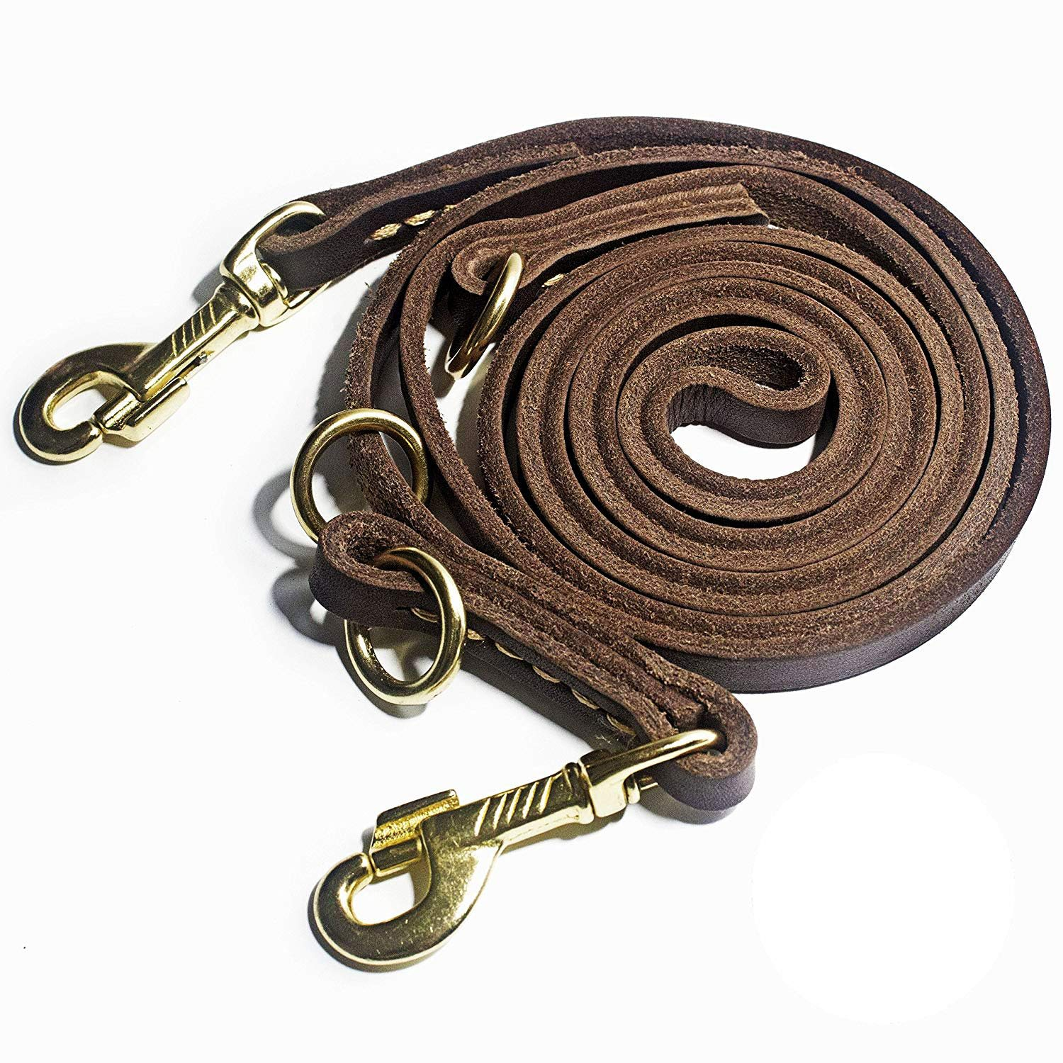 DOG CARE Hands Free Dog Leash, Multifunctional Dog Leash, 8ft Brown Leather Leash for Medium & Small Dogs