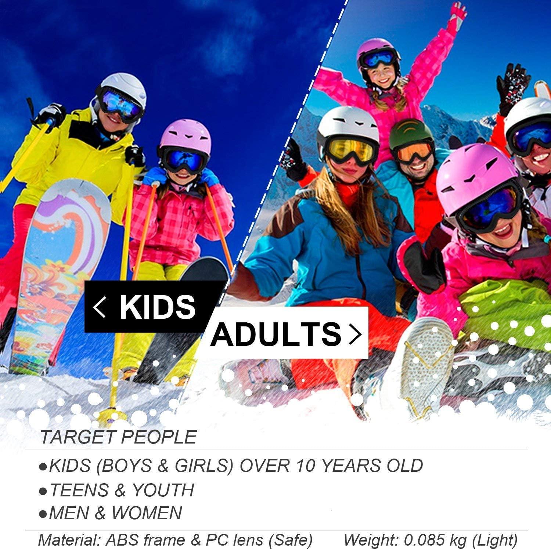 con Protecci/ón UV 400 Juventud Chicos y Chicas Ni/ños 2-Pack Gafas de Esquiar para Mujer Hombre Gafas de Esqu/í Resistentes al Viento Lentes Anti-Reflejo y Aislamiento a Prueba de Polvo