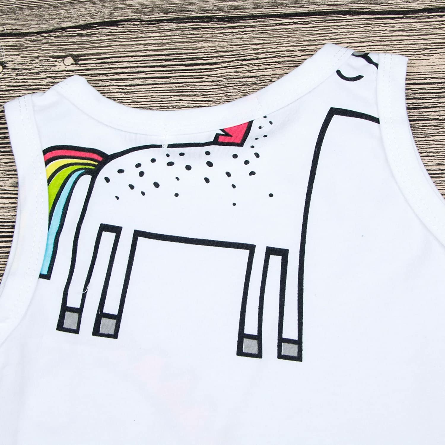 Toddler Infant Child Baby Kids Girls Unicorn Dress Cartoon Casual Crew Neck Sleeveless Mini Dresses