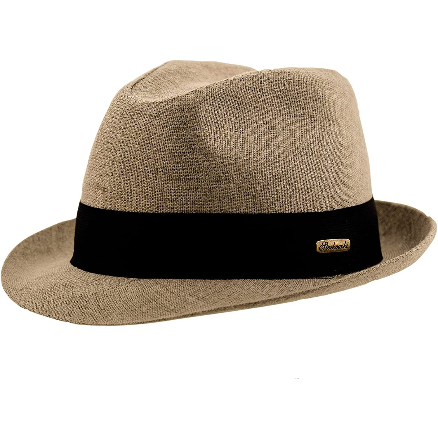 Sterkowski Summer Linen Trilby Sun Hat with Black Band at Amazon Men s  Clothing store  968b6984561