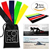 Core Movement Resistance Bands | 5 Exercise Loop Bands & Workout Program + Video series | Elastic training band loops | Mini theraband for legs, arms, glutes & hips | Home & gym workouts | Great for weight loss, Muscle toning, Physical therapy