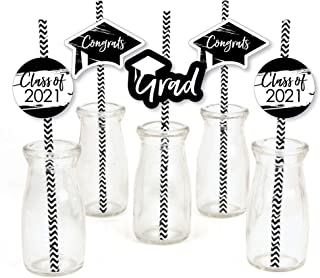 product image for Big Dot of Happiness Black and White Grad - Best is Yet to Come - Paper Straw Decor - Black and White 2021 Graduation Party Striped Decorative Straws - Set of 24