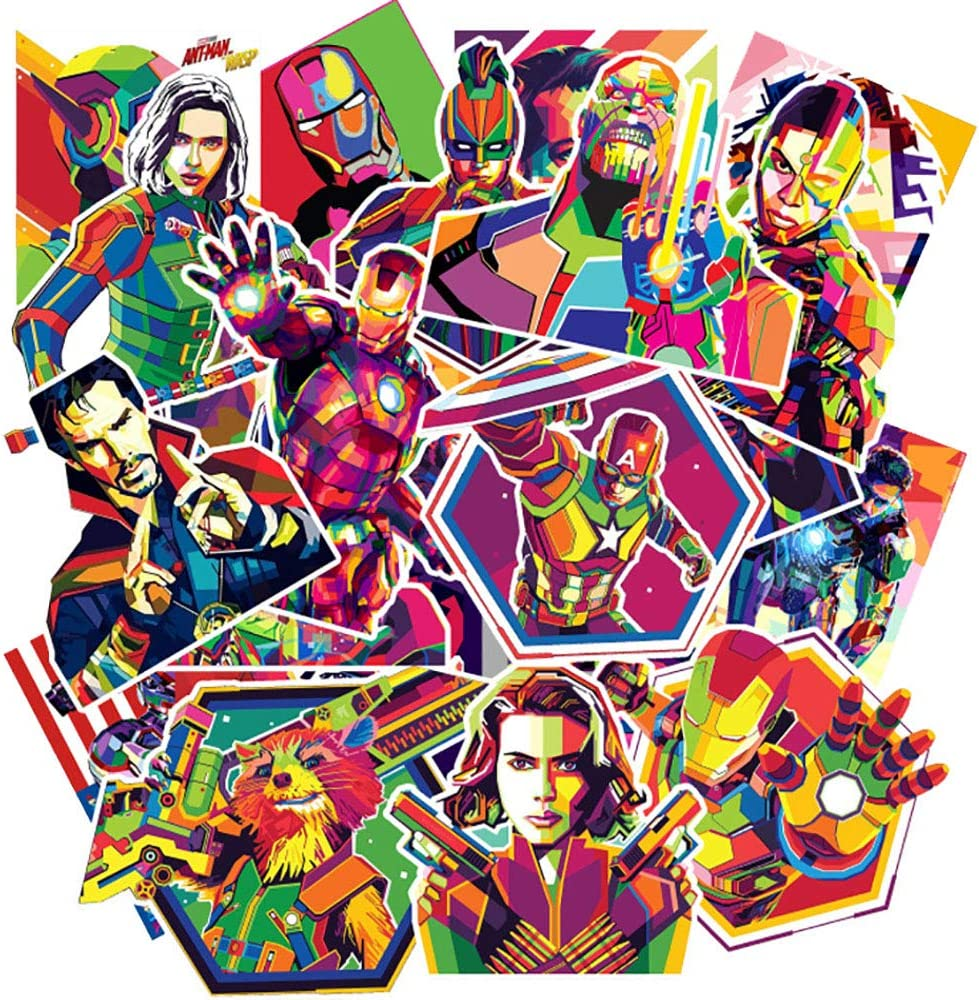 Ratgoo 50Pcs Colorful Waterproof Vinly Decals Stickers Pack of Avengers to Kids Teens Boys Girls for Laptop MacBook Skateboard Toddlers Flasks Motorcycle Bike Car Luggage Bumper Wall Room Desk.