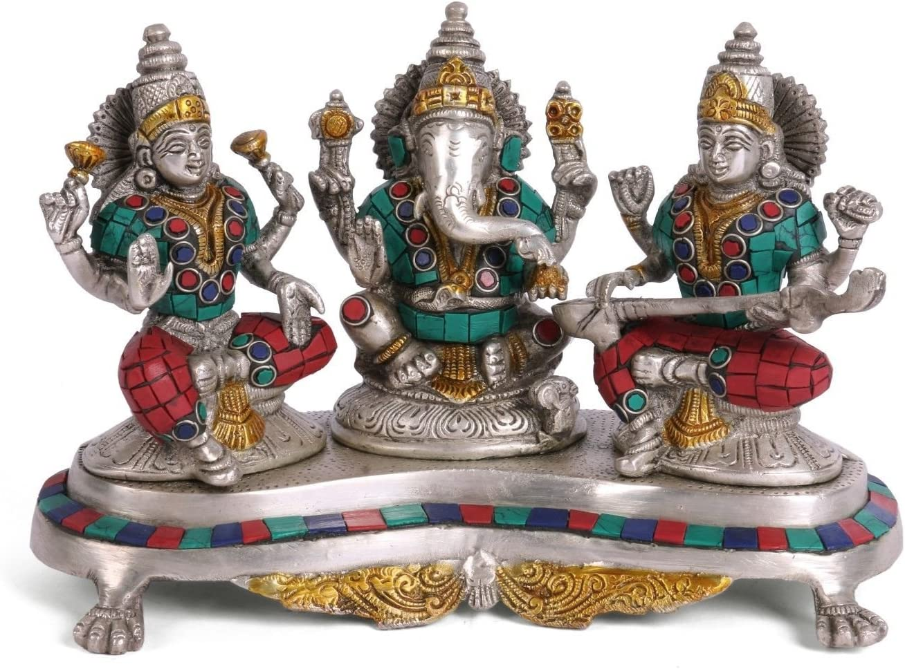 Lakshmi Ganesh Saraswati Statue Brass Figurine Ganpati God Ganesha Idol Home Decor Gift