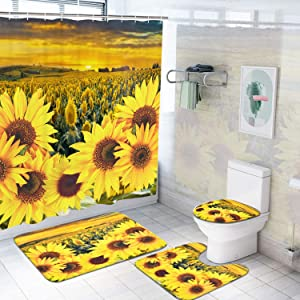 Ikfashoni 4Pcs Sunflowers Shower Curtain Sets with Non-Slip Rugs Toilet Lid Cover and Bath Mat Flower in The Sunset Shower Curtains with 12 Hooks, Durable Waterproof Shower Curtain for Bathroom