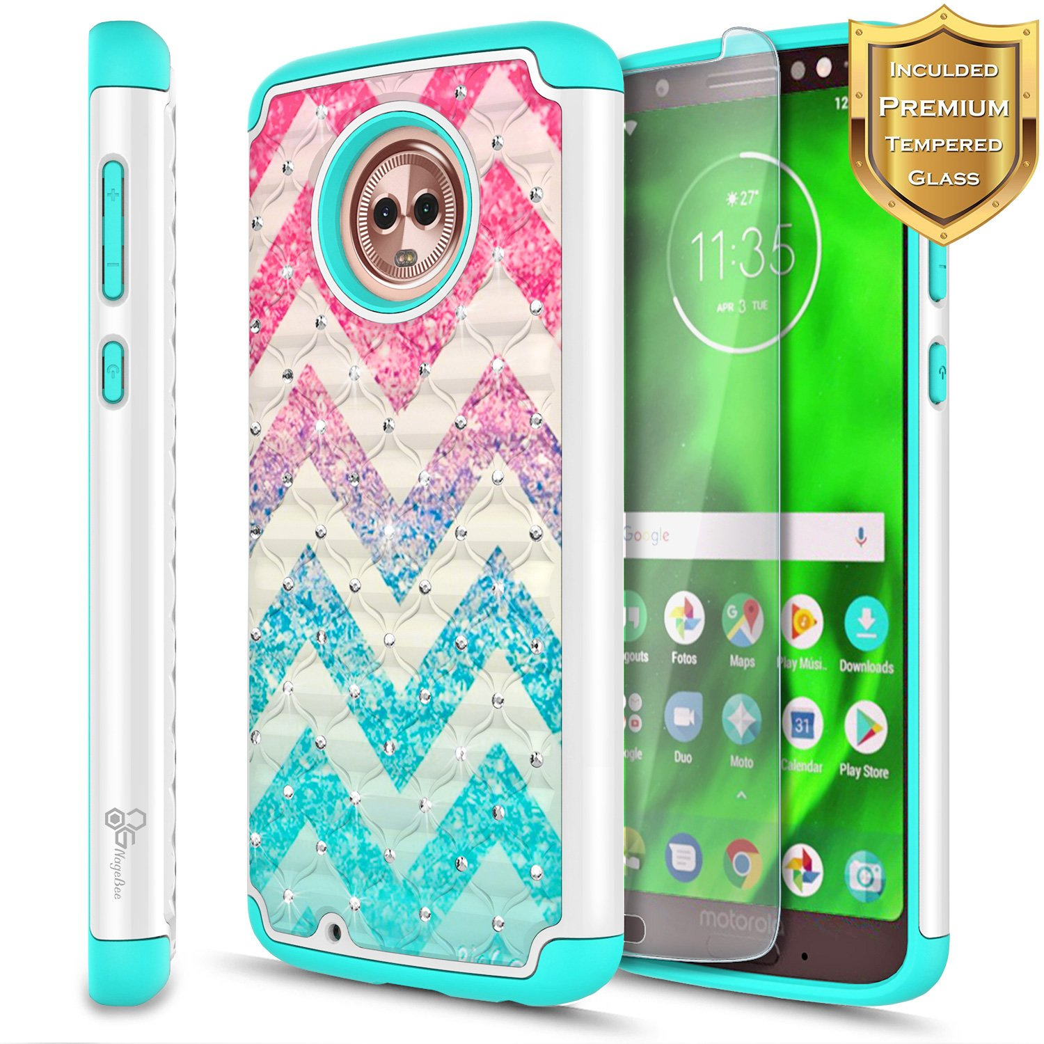 super popular 6c533 dbccb Details about For Motorola Moto G6/G6 Play/G6 Forge Case | Hybrid Bling  Rubber Phone Cover