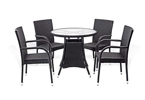 Amazon 5 Pc Patio Resin Outdoor Wicker Dining Set Round Table