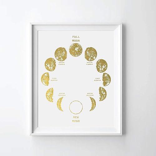Moon Phase II Gold Foil Art Print Moon Calendar Moon Phase Gold Foil Print 08″ x 10″ UNFRAMED