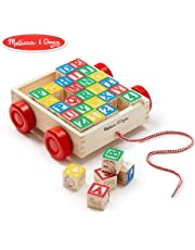 Melissa & Doug Classic ABC Wooden Block Cart Educational Toy with 30 Solid Wood Blocks