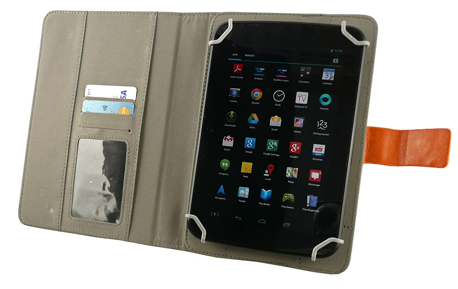 Blue Stylus Emartbuy/® EE Harrier Tab 8 Inch Tablet Universal Range Blue Multi Angle Executive Folio Wallet Case Cover With Card Slots