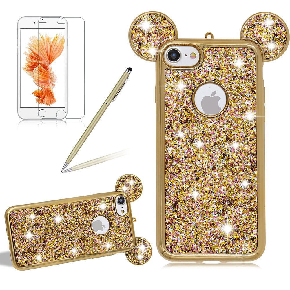 Girlyard For iPhone 6 / iPhone 6S Bling Diamond Silicone Case Cover Shiny Crystal Rhinestone Mouse Ears Soft TPU Protective Case 3D Novelty Design Ultra Slim Plating Frame Cover Gold