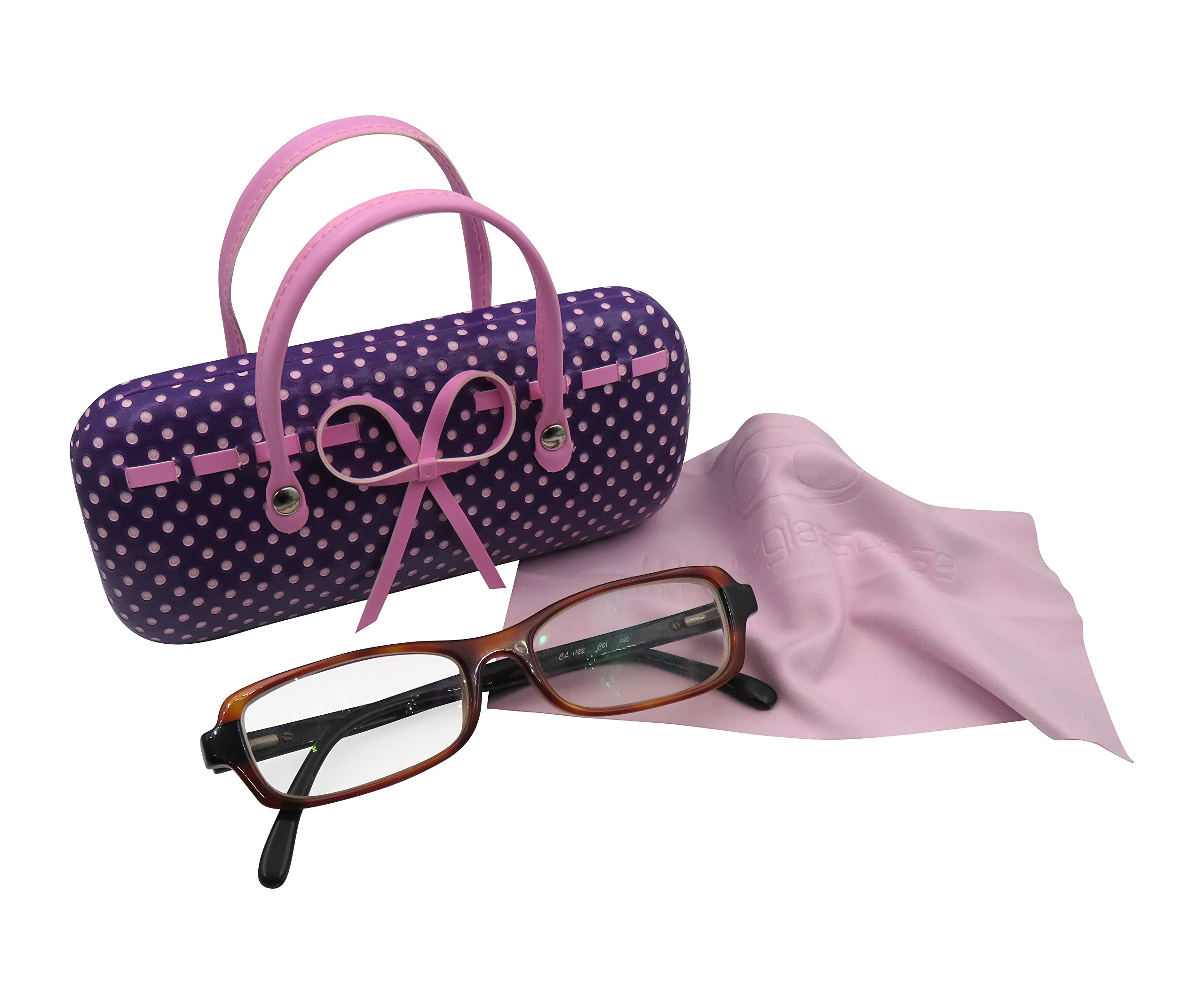 Purple Hard Protective Eyeglass Case with handles Mini handbag Eyeglass Case with cleaning cloth for Medium frames Women & Girls Small accessories| AS12TG Polka Dots Purple by MyEyeglassCase (Image #4)