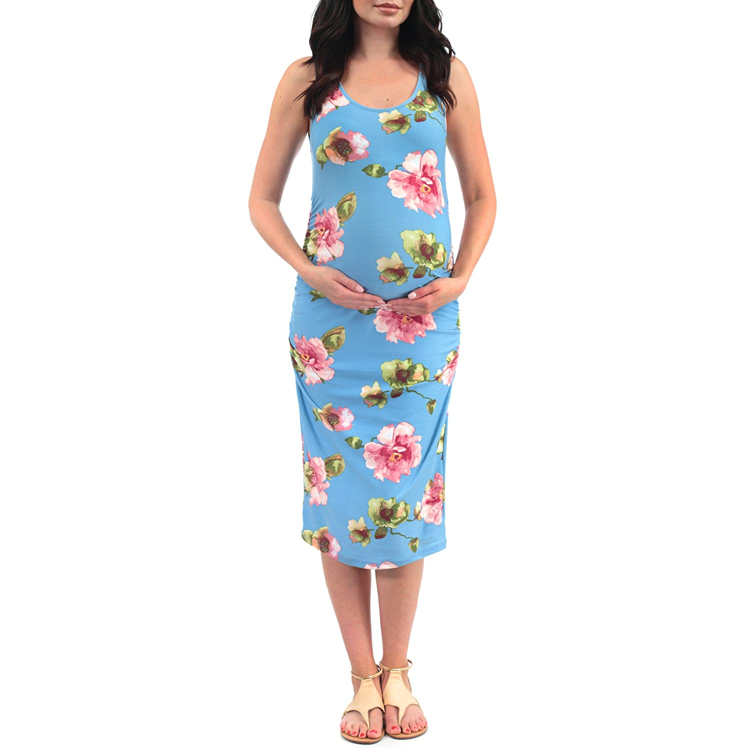 1b21f8e454b31 Women's Side Ruched Tank Maternity Dress - Made in USA at Amazon Women's  Clothing store: