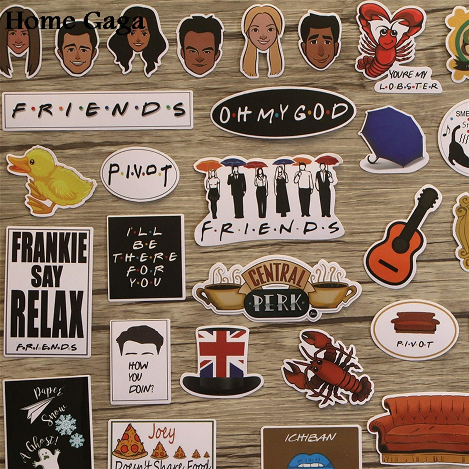 Your store 33pcs Friends tv Show Funny Creative Badges DIY Decorative Stickers Cartoon PC Wall Notebook Phone Home Garden by Your store (Image #3)
