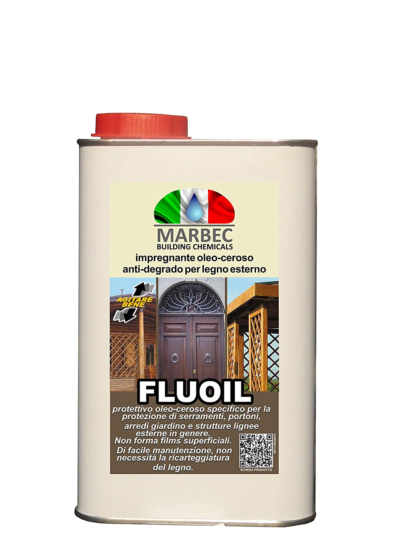 Marbec- FLUOIL 5LT | Impregnante oleo-ceroso per arredi giardino, porte, infissi e strutture in legno collocate all'esterno