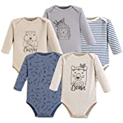 Yoga Sprout Unisex Baby Cotton Bodysuits, Wild Woodland Long Sleeve 5 Pack, 12-18 Months (18M)