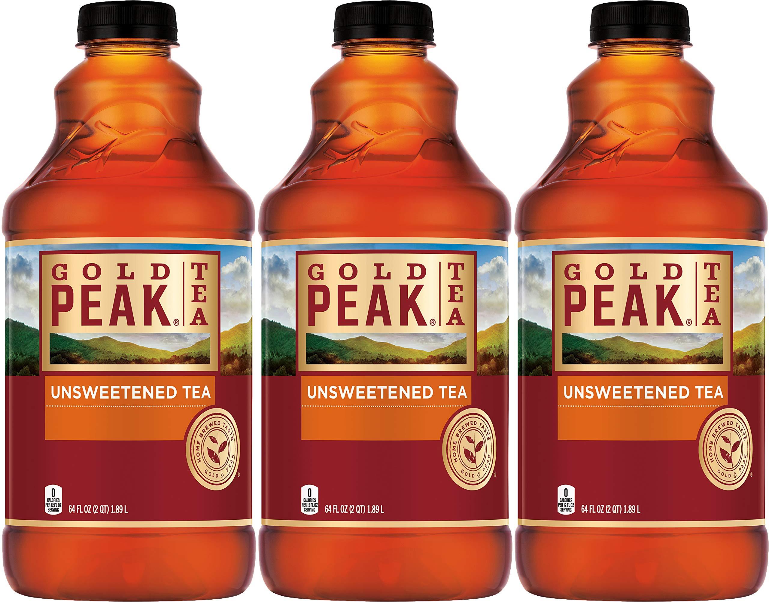 Gold Peak Unsweetened Iced Tea, 64 Fl Oz (Pack of 3, Total of 192 Fl Oz)