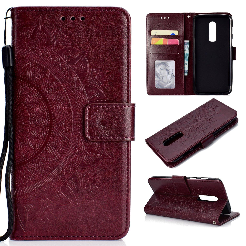 LOHHA11086 Grau Schutzh/ülle Brieftasche mit Kartenfach Klappbar Magnetverschluss Sto/ßfest Kratzfest Handyh/ülle Case f/ür OnePlus6 Lomogo OnePlus 6 H/ülle Leder