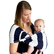 Baby K'tan - Print Baby Carrier Wrap Sling with Soft Cotton Knit, Multiple Ways to Wear - Navy Stripe, Large (S)