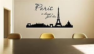 Paris is always a good idea paris silouette large image Vinyl Decal Matte Black Decor Decal Skin Sticker Laptop